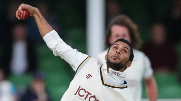 Adil Rashid bowls one at the moon