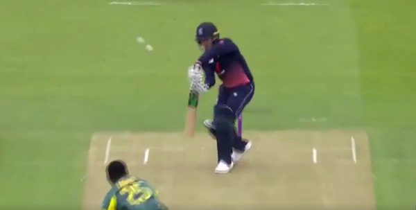 Jason Roy edges two cricket balls (ECB via Twitter video)