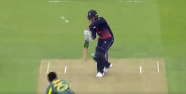 Jason Roy edges two cricket balls (ECB via Twitter video)