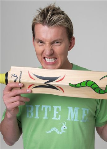 Brett Lee doing Christ knows what - it's certainly not biting