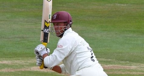 Marcus Trescothick shortly after twatting a cricket ball