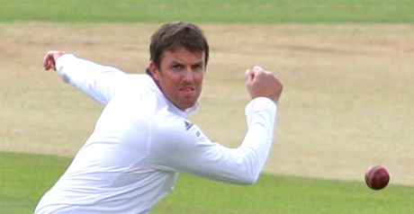 Graeme Swann about to play a delightful backhand slice