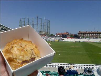 The old 'pie at the cricket' shot