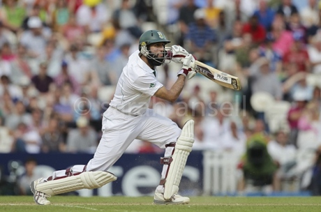 Hashim Amla hitting the ball with his bat again
