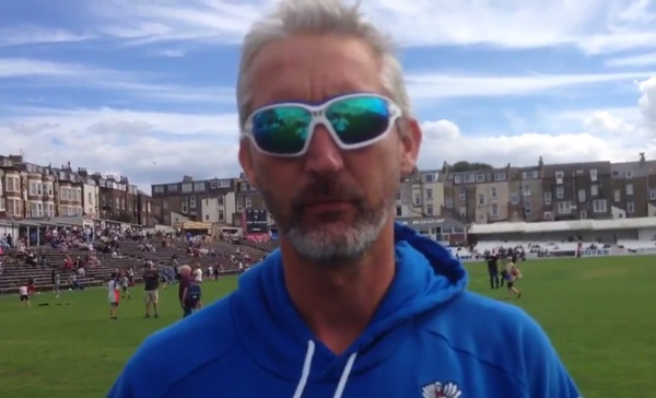 Jason Gillespie looking all serious at Scarborough (via Yorkshire CCC Twitter video)
