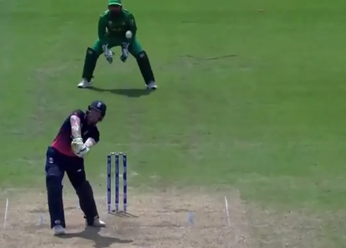 Ben Stokes finds a gap in the field directly above him (screengrab via ICC)