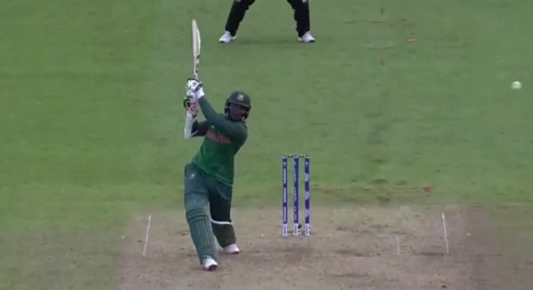Shakib al Hasan doing some smiting (via ICC)