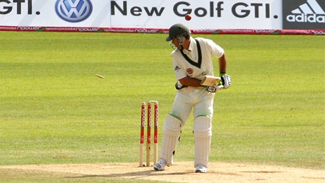 Ricky Ponting watches the bail
