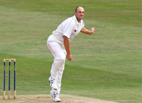 James Tredwell and his bowling face (also the rest of his body)