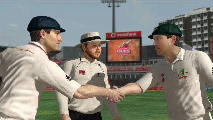 Ricky Ponting and Bill Pullman shake hands before the first Test