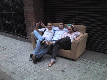 Post match street settee action