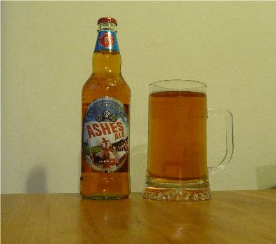 Marston's Ashes Ale in a Lord's 2005 glass